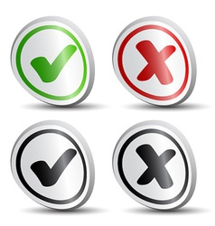White checkmarks round labels vector