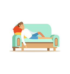 young man sitting on the sofa and sleeping vector image
