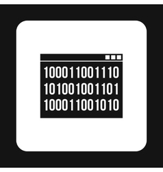 Binary code on screen icon simple style vector