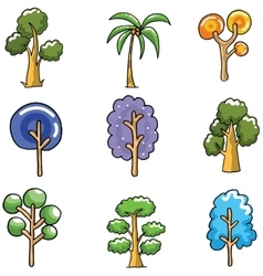 Unique tree set of doodles vector image