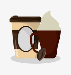 Cup of capuccino with cream and glass disponsable vector