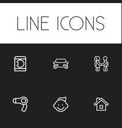 Set of 6 editable relatives icons includes vector
