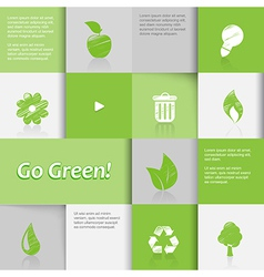 Ecology icons on green tiled background vector