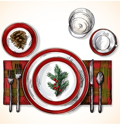 Christmas table setting vector