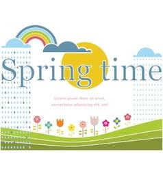 Spring lettering on spring landscape vector