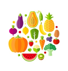 Healthy lifestyle design element with fruits vector