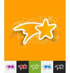 Christmas star paper sticker with hand drawn vector