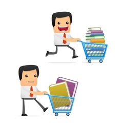 Manager with books vector