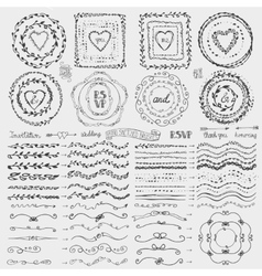 Doodle framebrusheswreath decor setblack vector
