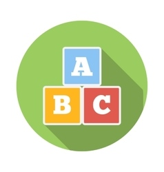 Cubes with letters abc icon flat style vector