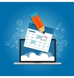 Mark circle your calendar agenda online cloud vector