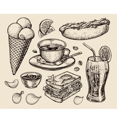 Fast food hand drawn cup coffee tea sandwich vector