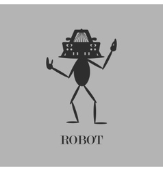 Robot simple flat gray pictogram vector