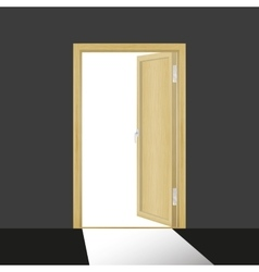 Wooden open door in a dark room vector