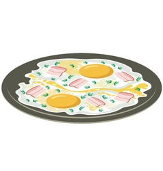 Fried eggs with bacon vector