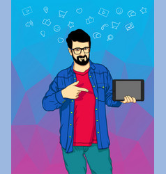 A hipster man with the beard standing with a vector