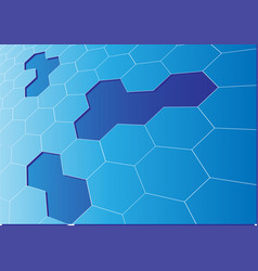 abstract blue hexagon mesh 3d crack background vector image