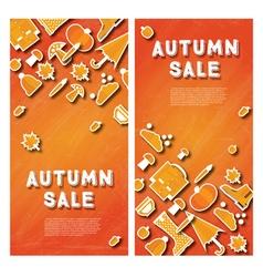 Autumn sale banner set with pumpkin vector