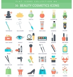 beauty and cosmetics color flat icon set vector image vector image