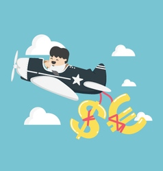 businessman flying a plane have money dollar vector image