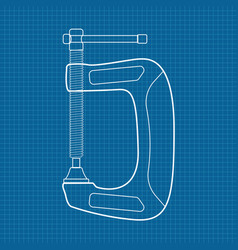 C clamp icon blueprint background vector