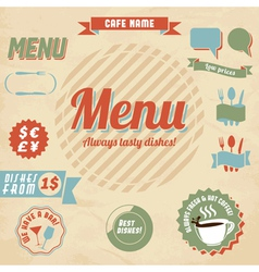 Cafe menu design elements vector image