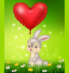 Cartoon bunny holding red heart balloons vector