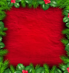Christmas frame from holly berry vector