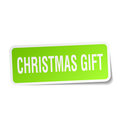 Christmas gift square sticker on white vector
