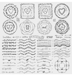 Doodle framebrusheswreath decor setblack vector