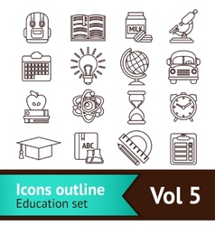 Education icons outline vector