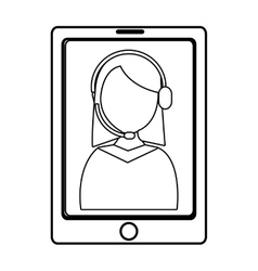Electronic device with avatar woman on the screen vector