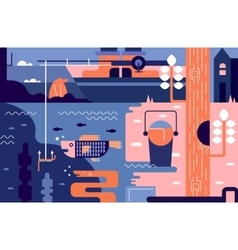Fishing abstract background vector image