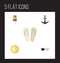 Flat icon summer set of sundae beach sandals vector
