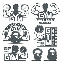 Gym and Fitness emblems vector image
