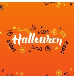 Halloween lettering greeting postcard vector