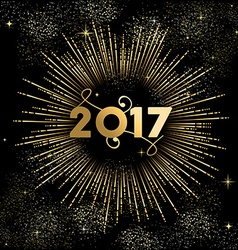 Happy New year 2017 firework burst in gold vector image vector image
