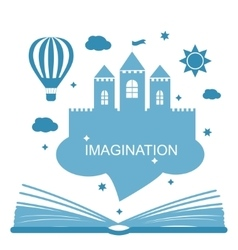 Imagination concept - open book vector