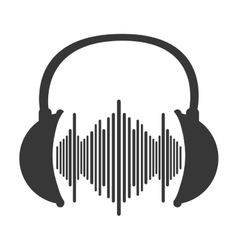 Music soundwave in headphones icon vector