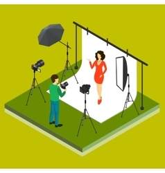 Photographer Shooting Model in Studio vector image vector image