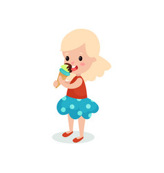 pretty blonde girl licking ice cream cartoon vector image