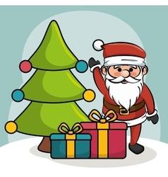 santa greets tree and gift boxes design vector image vector image