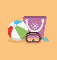 Shell ball swimming mask and bag on a sand vector