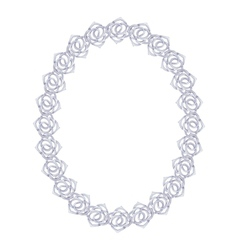Silver chain rose - oval frame on a white vector