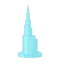Skyscraper Burj Khalifan Dubai icon cartoon style vector image