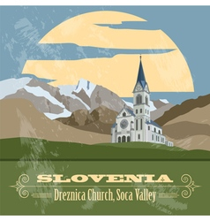 Slovenia landmarks Retro styled image vector image vector image