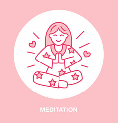 Smiling girl in padmasana yoga line logo icon of vector
