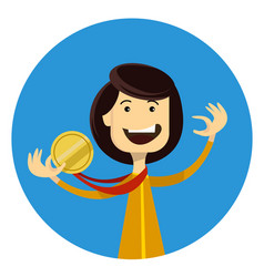 Sport girl winner holding gold medal in the hand vector