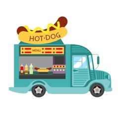 Street food hot dog food truck vector