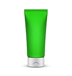 Tube of cream or gel green silver clean product vector